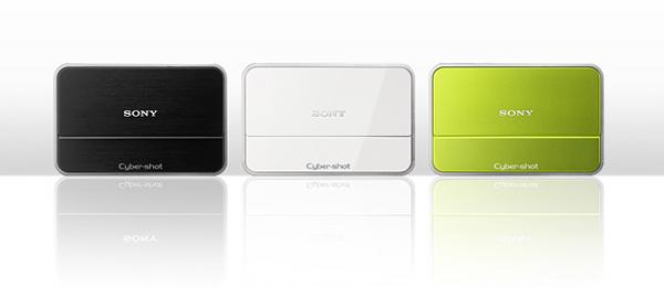 """デジタルスチルカメラ""""サイバーショット""""『DSC-T2』(左からブラック、ホワイト、グリーン)"""