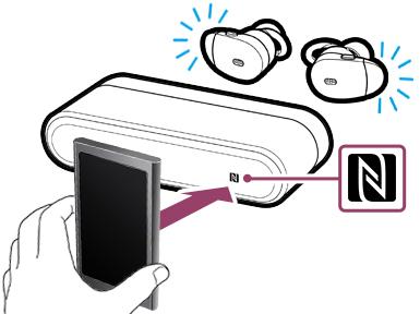 スマートフォン、もしくはウォークマンを充電ケースの底面のNFCマークにタッチします