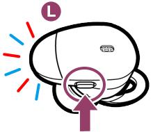L側のボタンを、青と赤のランプが交互に点滅するまで約7秒間押し続けます