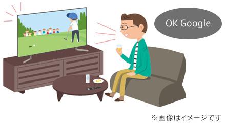 リビングでテレビに向かって「 OK Google 」と話しかけている画像