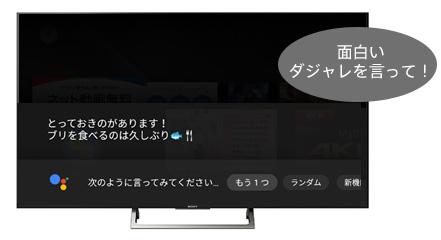 テレビに向かって「面白いダジャレを言って」と話しかけ、テレビがダジャレを返答している画像