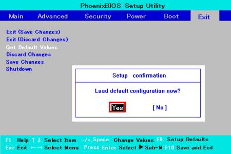 ノートブックPCでBIOSセットアップメニューの設定を初期化する方法