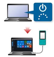 放電後、取り外したものを接続してからパソコンを起動します。 パソコンが起動してから、ウォークマンを接続してください。
