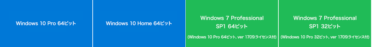 Windows 10 Pro 64ビット,version 1703. Windows 10 Home 64ビット,version 1703. Windows 7 Professional sp1 64ビット Windows 7 Professional sp1 32ビット